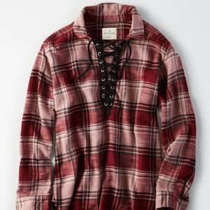 AMERICAN EAGLE PLAID LACE UP TOP